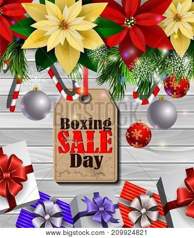Boxing day sale tag with evergreen trees with poinsettia christmas lights isolated on wooden wall gift boxes and candy canes Vector