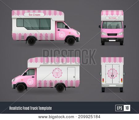 Food trucks realistic ad template design composition of four isolated views of purple ice cream truck vector illustration