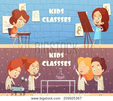 Children classes horizontal banners with cartoon kids painting in studio and making chemistry experiment in laboratory vector illustration