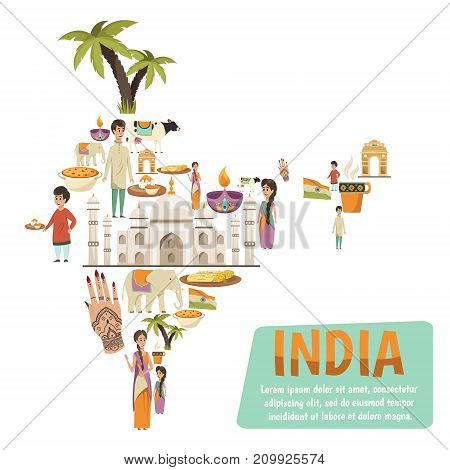 Abstract india map consisting of decorative icons describing famous national landmarks and traditions flat vector illustration