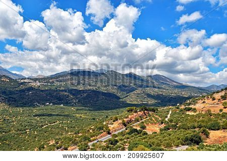Landscape of Mediterranean island Crete in Greece