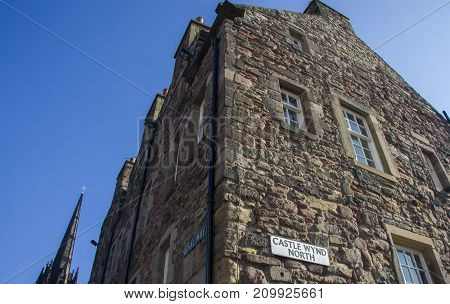Corner of Royal Mile with Castle Wynd North Ediburgh Scotland