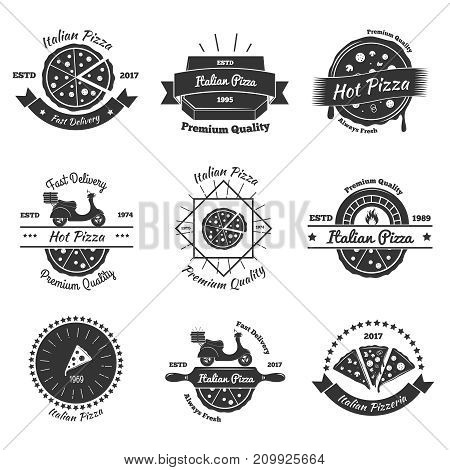 Pizza vintage emblems collection with flat isolated images of italian pizza pieces decorative elements and text vector illustration