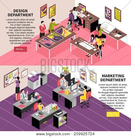 Development company horizontal banners with staff working in design and marketing departments isometric vector illustration