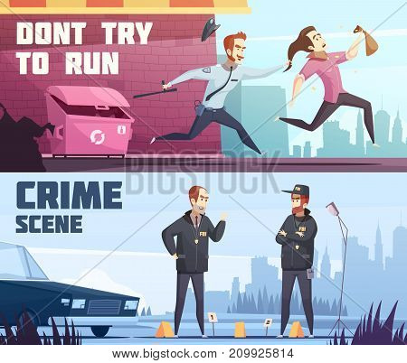 Two horizontal banners on police theme with policeman offender and driver violated traffic rules cartoon figurines vector illustration
