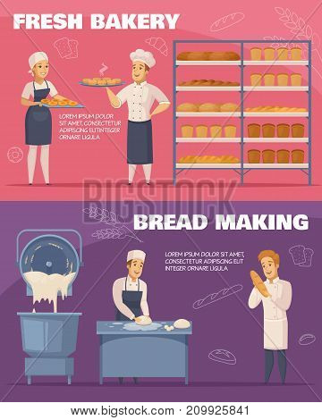Horizontal cartoon banners isolated on pink and purple backgrounds with fresh bakery and bread making vector illustration