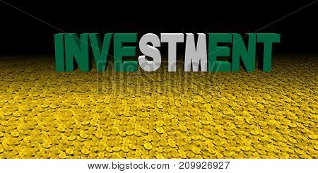 Investment text with Nigerian flag with coins 3d illustration