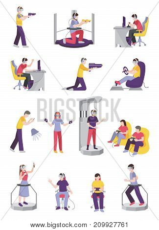Gamers people flat set of isolated teenage human characters with leisure-time entertainment facilities and gaming accessories vector illustration