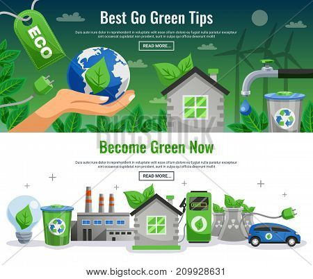 Two ecology banner set with best to green tips become green now headlines and read more buttons vector illustration