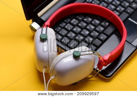 Sound Recording Idea. Headphones And Black Laptop