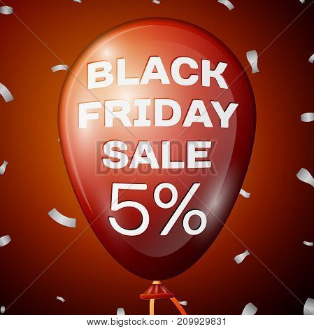 Realistic Shiny Red Balloon with text Black Friday Sale Five percent for discount over red background. Black Friday balloon concept for your business template. Vector illustration