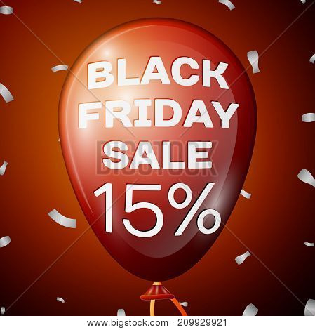 Realistic Shiny Red Balloon with text Black Friday Sale Fifteen percent for discount over red background. Black Friday balloon concept for your business template. Vector illustration