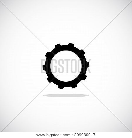 Simple cogwheel icon. Illustration of mechanical element