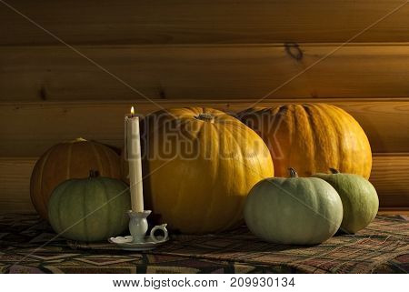 five different-colored pumpkins of different sizes and a candle in a vintage candlestick lie on a table covered with a cloth against the background of a log wall