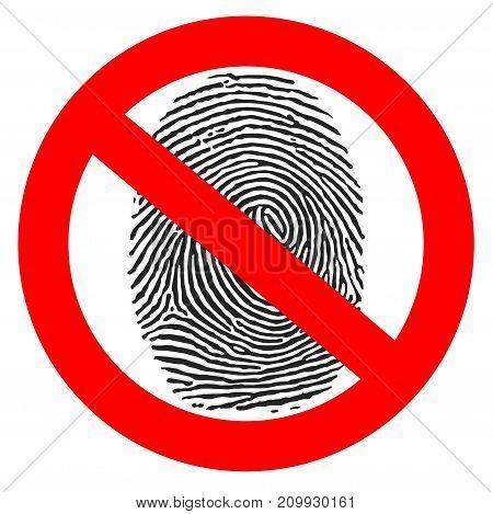 Red prohibition sign. crossed fingerprint isolated on white 3d illustration