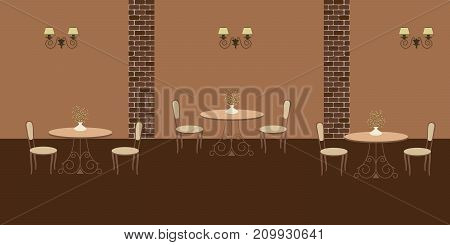 Interior of restaurant in a brown colors. There are three tables and chairs in the image. There are also decorative lamps on the wall. Vector flat illustration.