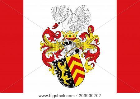 Flag of Hanau is a town in the Main-Kinzig-Kreis in Hesse Germany. Vector illustration