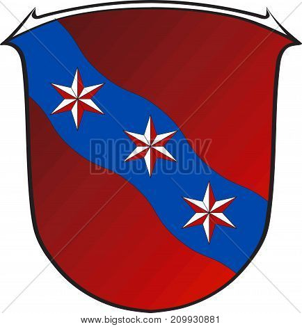 Coat of arms of Erbach is a town and the district seat of the Odenwald district in Hesse Germany. Vector illustration