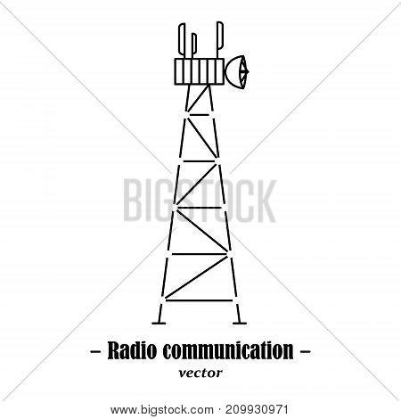 Vector logotype for radio communication. Black illustration on white background.