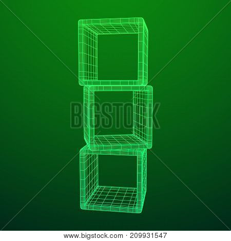 Product display boxes. Wireframe mesh vector. Platform or Stand Illustration. Template for Object Presentation.