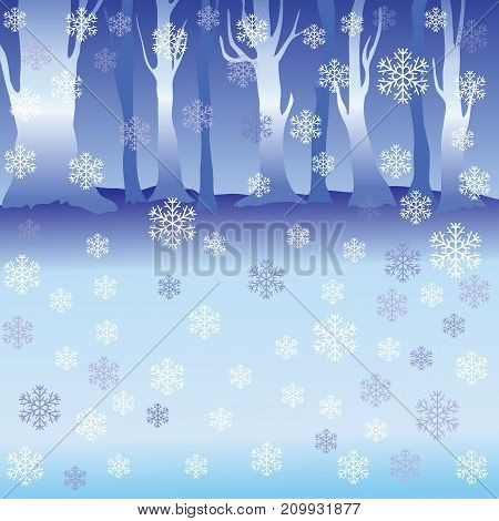 Colorful illustration with Winter Forest for Your Design