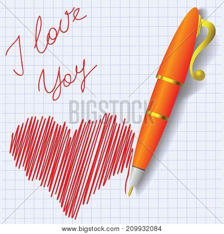 colorful illustration with red heart symbol on paper background