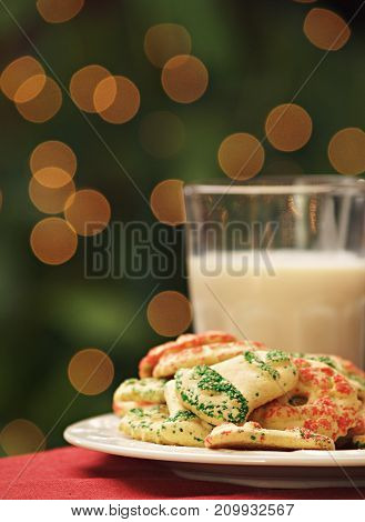 Christmas cookies and milk left for Santa.