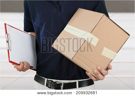 Box young man standing white blue background