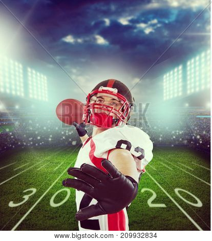 American player football color background single young