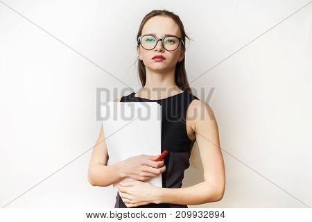 Strong office woman in dress with paper isolated
