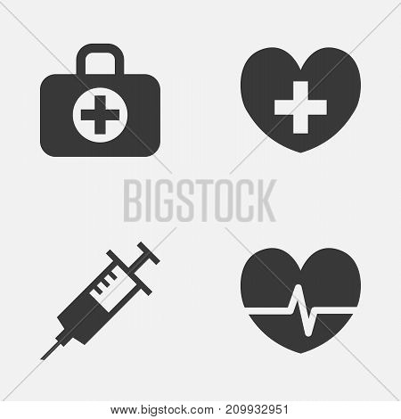 Medicine Icons Set. Collection Of Injection, Heal, Rhythm And Other Elements