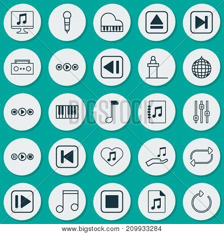 Music Icons Set. Collection Of Display, Document, Refresh And Other Elements