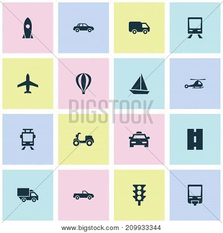 Transport Icons Set. Collection Of Aircraft, Van, Skooter And Other Elements