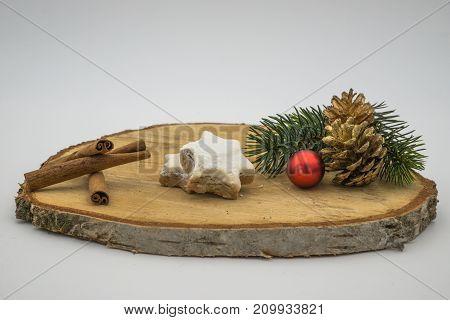 Christmas Decoration On Wood Underground.