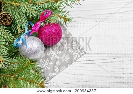 Christmas background for greetings with balloons and Christmas tree. Concept Happy Christmas New Year holiday winter.
