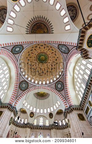 Interior Domes Of Blue Mosque