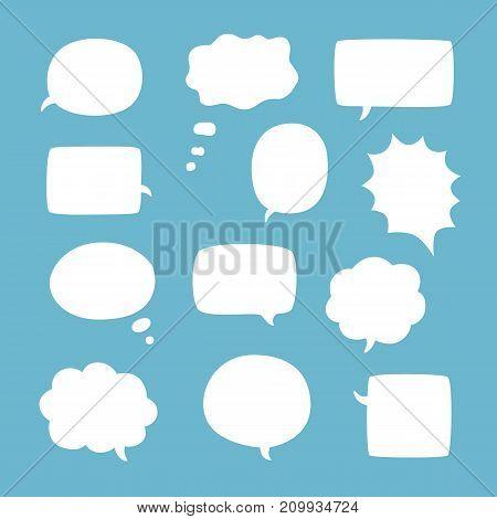 Blank empty white speech bubbles on blue background. Flat vector illustration.