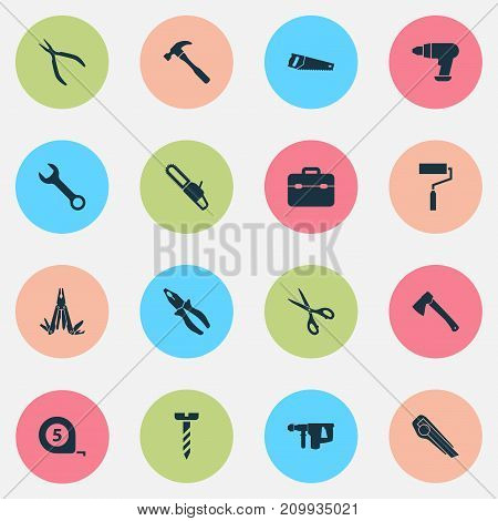 Handtools Icons Set. Collection Of Handsaw, Cutter, Shears Elements