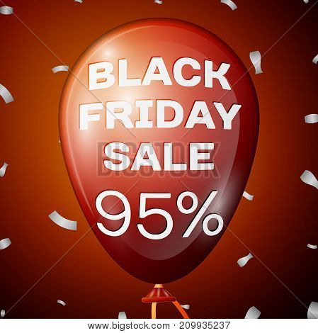 Realistic Shiny Red Balloon with text Black Friday Sale Ninety five percent for discount over red background. Black Friday balloon concept for your business template. Vector illustration