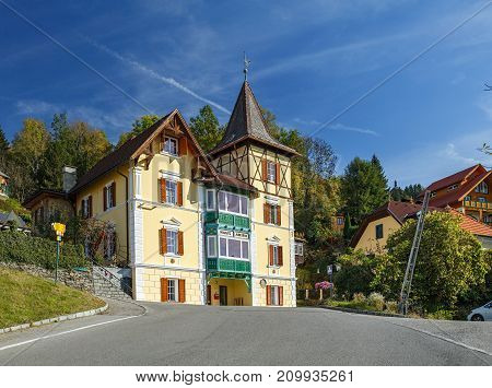 MILLSTATT AM SEE/ AUSTRIA - OCTOBER 11, 2017.  Old half-timbered building in the town of Milstatt, situated on the slope of the Gurktal Alps, on the shore of the Millstatt lake. Carinthia, Austria.