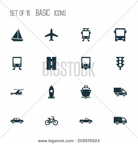 Transport Icons Set. Collection Of Bicycle, Cabriolet, Omnibus And Other Elements