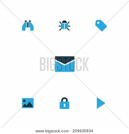 Interface Colorful Icons Set. Collection Of Badge, Start, Binocular And Other Elements