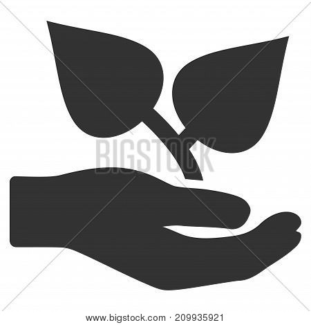 Flora Care Hand vector icon. Style is flat graphic grey symbol.