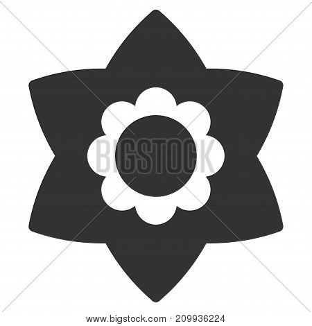 Flower vector pictograph. Style is flat graphic grey symbol.