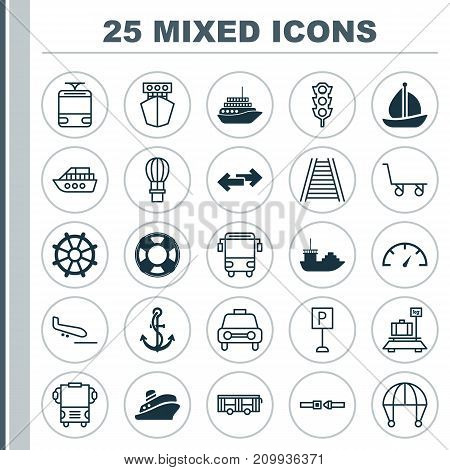 Shipping Icons Set. Collection Of Safety Belt, Sailboat, Lifebuoy And Other Elements