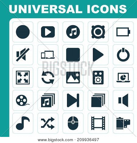 Multimedia Icons Set. Collection Of Power, Quaver, Picture And Other Elements