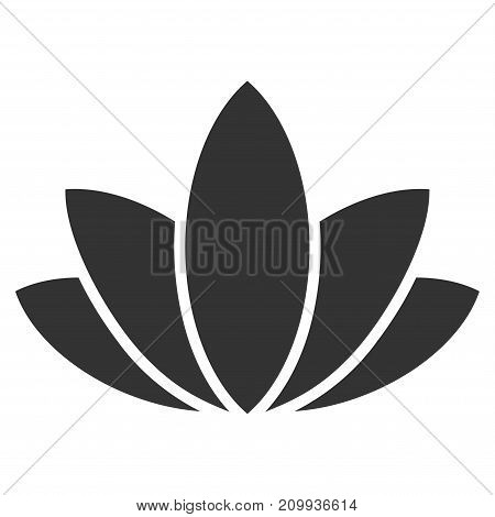 Lotus Flower vector pictograph. Style is flat graphic gray symbol.