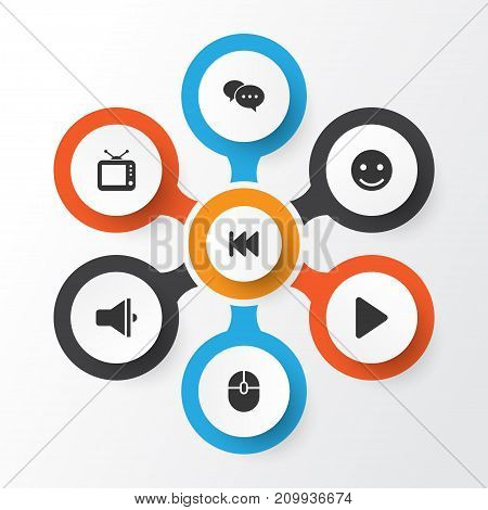 Multimedia Icons Set. Collection Of Rewind, Television, Chatting And Other Elements