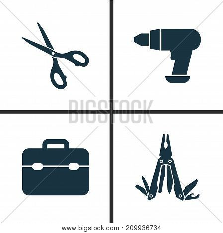 Handtools Icons Set. Collection Of Shears, Multifunctional Pocket, Toolkit And Other Elements