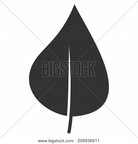 Plant Leaf vector pictogram. Style is flat graphic gray symbol.